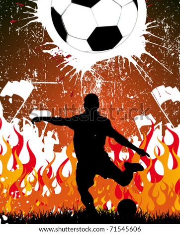 football player with fans and fire in the background - stock vector
