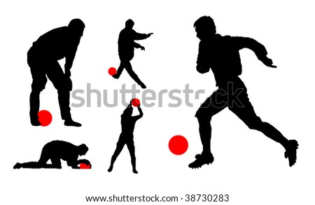 football players. vector illustration - stock vector