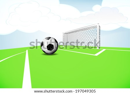 football playground scene penalty execution with cloudy sky vector