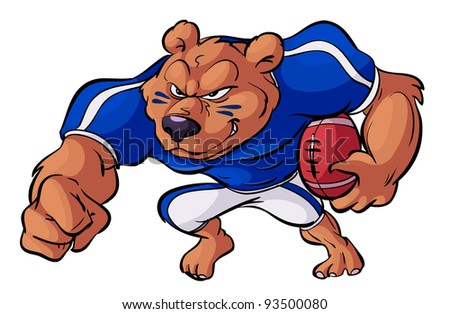 football playing bear in action - stock vector