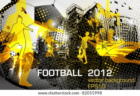 football poster design with player in city - stock vector