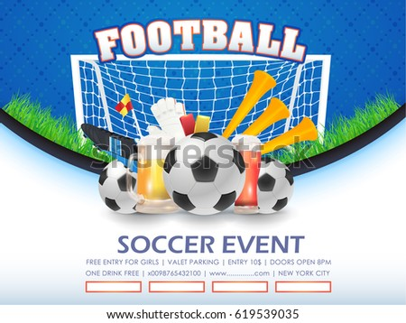 Football Poster Event Info Postcard Design and Ad Web Banner or Sports Card Template, Soccer Ball with Vector Background