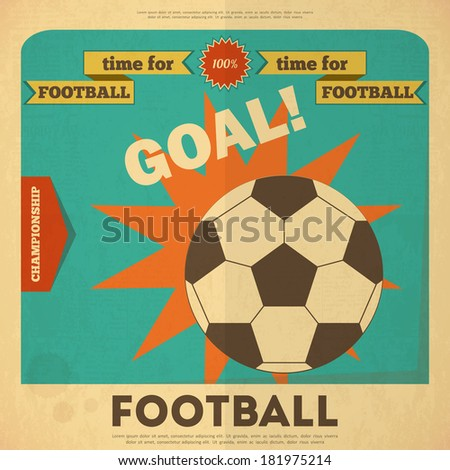 Football Poster Soccer Placard In Retro Design Style Vector Illustration