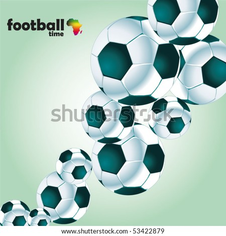 football poster with soccer balls - stock vector