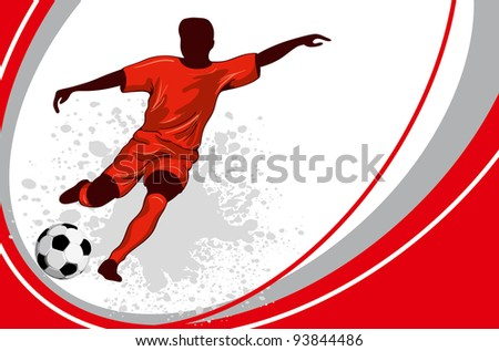 Football poster with soccer player and place for your text - stock vector