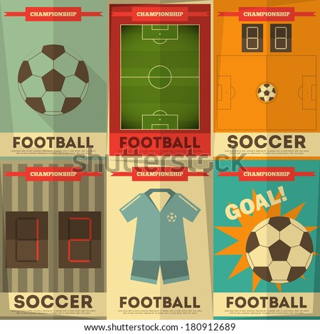 Football Posters Collection. Soccer Placards Set in Flat Design. Vector Illustration. - stock vector
