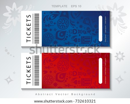Football 2018 Russia World Cup Abstract football tournament tickets template concept, dynamic texture banners Vector world cup competition coupon. Championship soccer Russian folk art decor pattern.