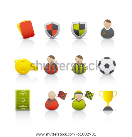 Football Set of icons on white background in Adobe Illustrator EPS 8 format for multiple applications. - stock vector