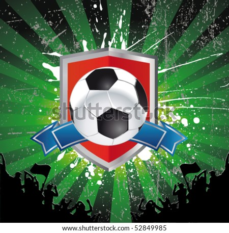 football sign - soccer ball on the shield - stock vector