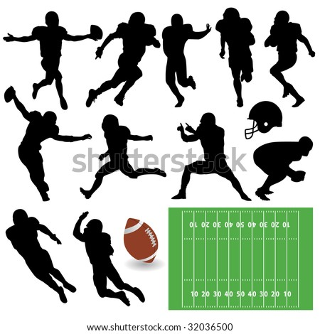 football silhouettes - stock vector