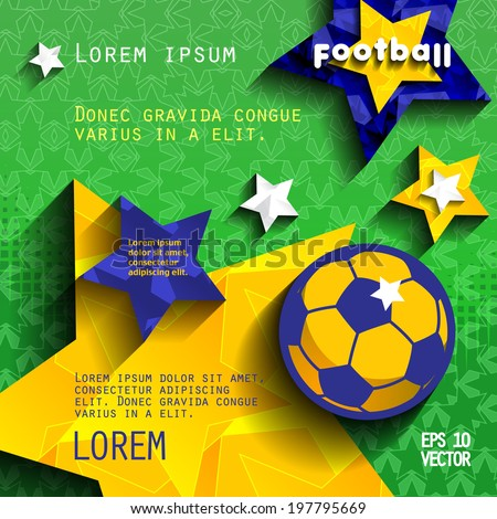 football soccer background with stars, grass and ball, in the colors of the national flag of Brazil. cover vector eps10 - stock vector