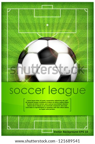 Football (soccer) ball on green field background and text, vector illustration - stock vector