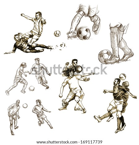 FOOTBALL - Soccer. Collection of an hand drawn illustrations on white background.