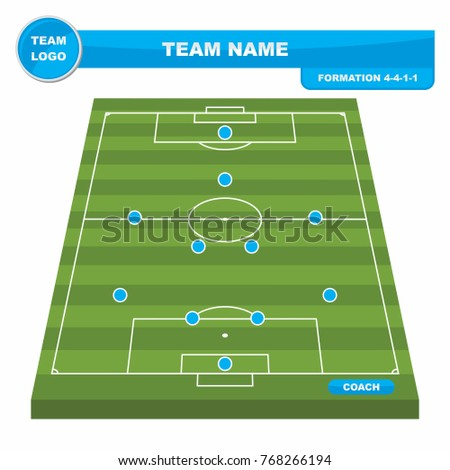 Football Soccer Formation Strategy Template With Perspective Field 4 1