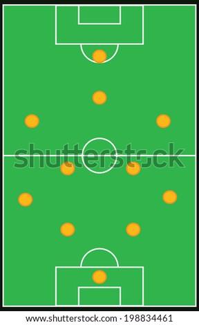 Football, soccer formation vector set 4-4-1-1 vector eps10 - stock vector