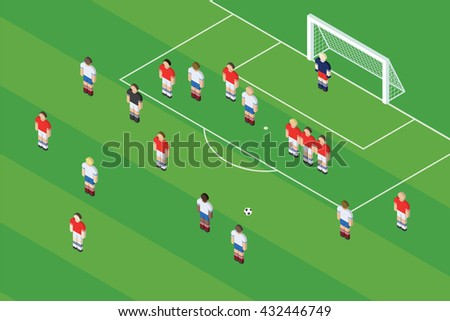 Football / Soccer Free Kick. Ball On The Free Kick Spot At The Stadium. Isometric Vector Illustration