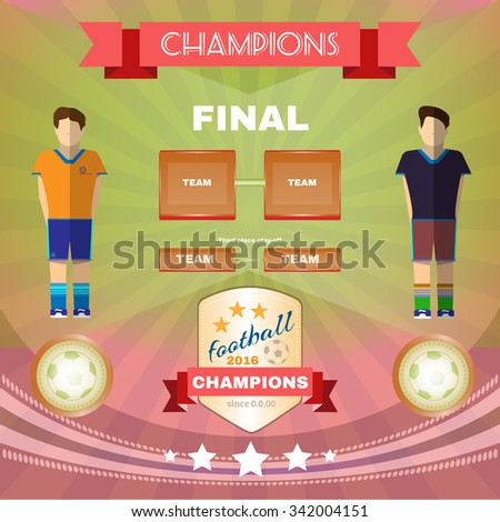 Football Soccer 2016 Game Champions Final Banner or Flyer. Soccer Match Infographic. Championship Golden Cup. Digital background vector illustration. - stock vector