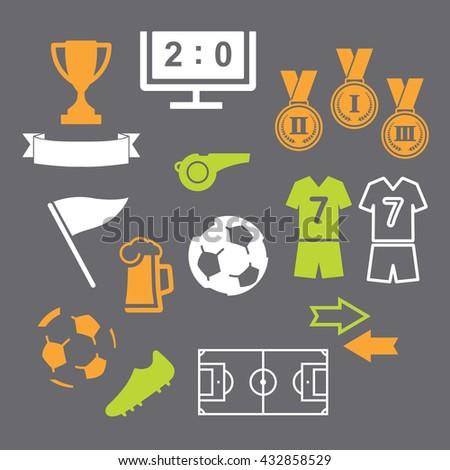 Football soccer icons set on gray background. Vector illustration. - stock vector