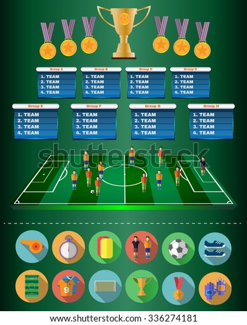 Football Soccer Match Statistics. Scoreboard with players and Match Score and Game Icons. Football 3D Game Field. France versus Italy Team. Digital background vector illustration.  - stock vector