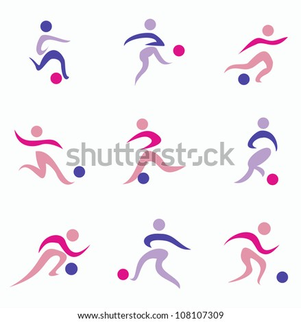 football, soccer player icons, isolated vector illustration
