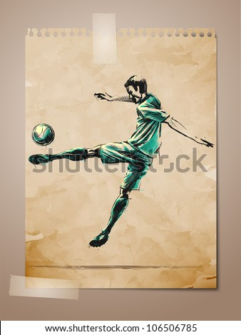 Football, Soccer Player Sketch on Aged Note Paper | EPS10 Vector Background | Layers Organized and Named