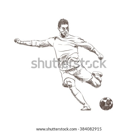 football (soccer) player sketch with ball isolated - stock vector