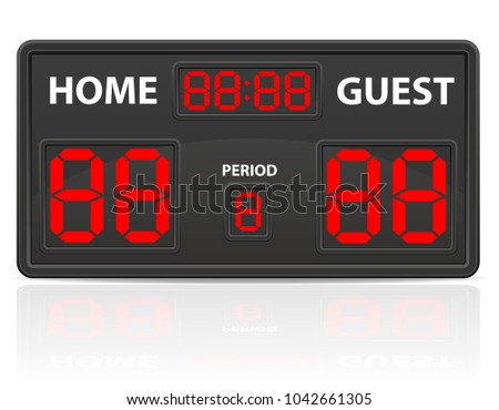 football soccer sports digital scoreboard vector illustration isolated on white background