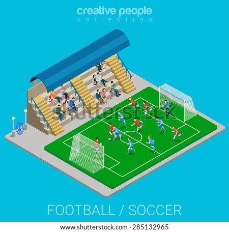 Football / soccer stadium competition match play. Sport modern lifestyle flat 3d web isometric infographic vector. Young joyful people team sports championship. Creative sportsmen people collection. - stock vector