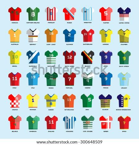 Football Soccer Team Wear. Soccer club t-shirt big set. Sports infographic. Digital background vector illustration.  - stock vector