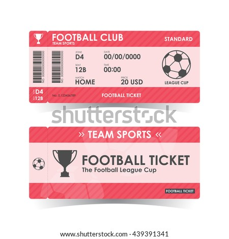 Football, Soccer Ticket, guidelines for element design, Vector illustration. - stock vector