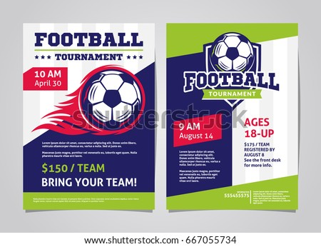 Football Soccer Tournament Posters Flyer With Ball