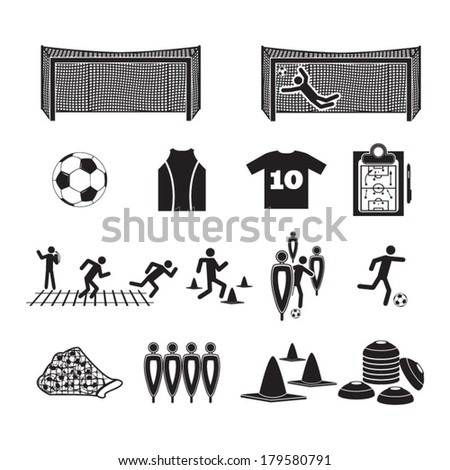 Football/Soccer training icons set - stock vector