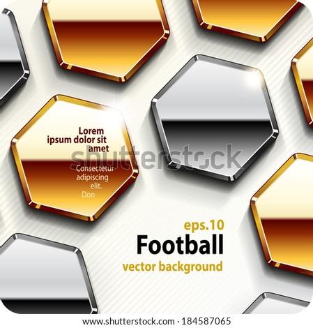football (soccer) vector gold background, cover. Eps10. - stock vector