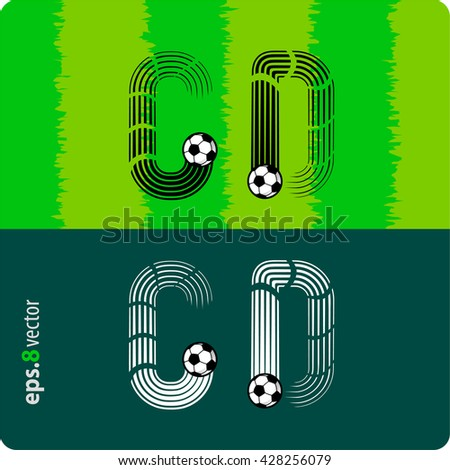 "Football (soccer) vector set of letters ""C"",""D"" in the form of splines flight a soccer ball.eps8"