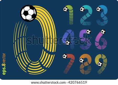 Football (soccer) vector set of numbers in the form of color splines flight a soccer ball. Zero 0 One 1 Two 2 Three 3 Four 4 Five 5 Six 6 Seven 7 eight 8 nine 9. eps8