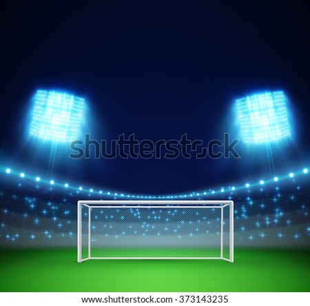 football stadium with lights and tribunes  - stock vector