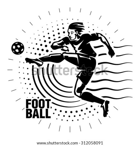 Football striker. Illustration in the engraving style - stock vector