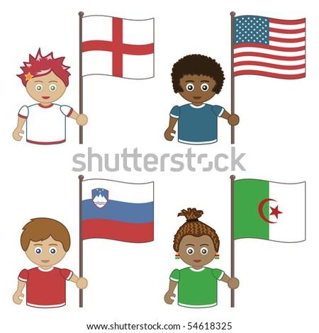 football supporters with flags, england, america, slovenia and algeria