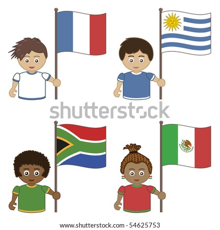 football supporters with flags, france, uruguay, south africa, mexico