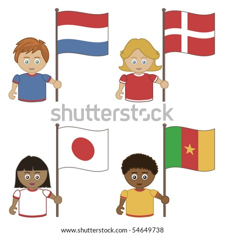 football supporters with flags, netherlands, denmark, japan, cameroon