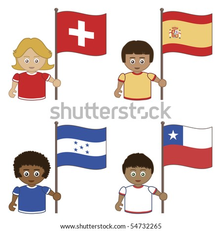 football supporters with flags, switzerland, spain, honduras, chile - stock vector