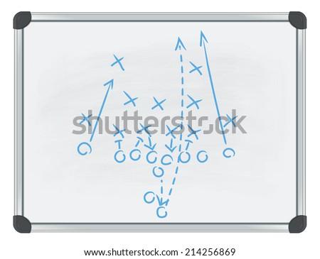 football tactic on whiteboard - stock vector