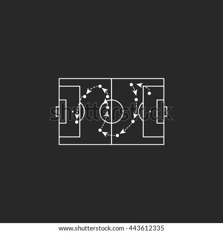 Football tactics board sign simple icon on background - stock vector