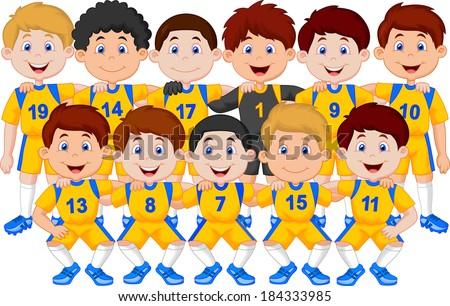 Football team cartoon - stock vector