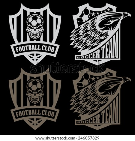football team crest set with eagle and skull - stock vector
