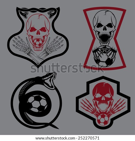football team crests set with snake and skulls - stock vector