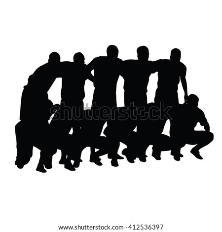 football team pose for photographers before the game vector silhouette of a soccer team