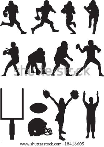 Football team silhouettes. - stock vector