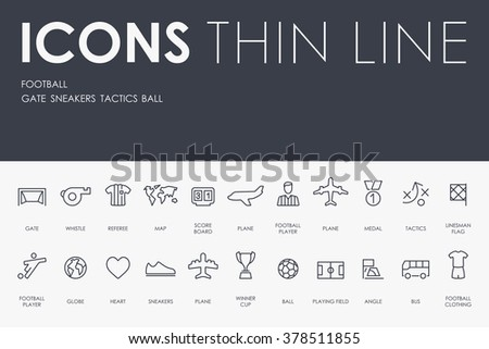 football Thin Line Icons - stock vector
