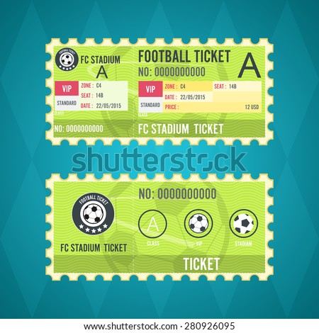 Football ticket card green design  - stock vector